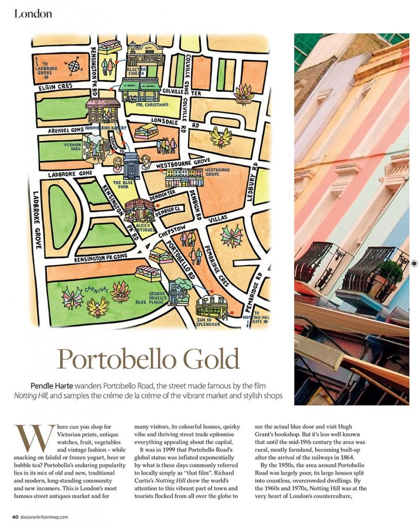 Portobello Road and surrounds for Visit Britain Magazine