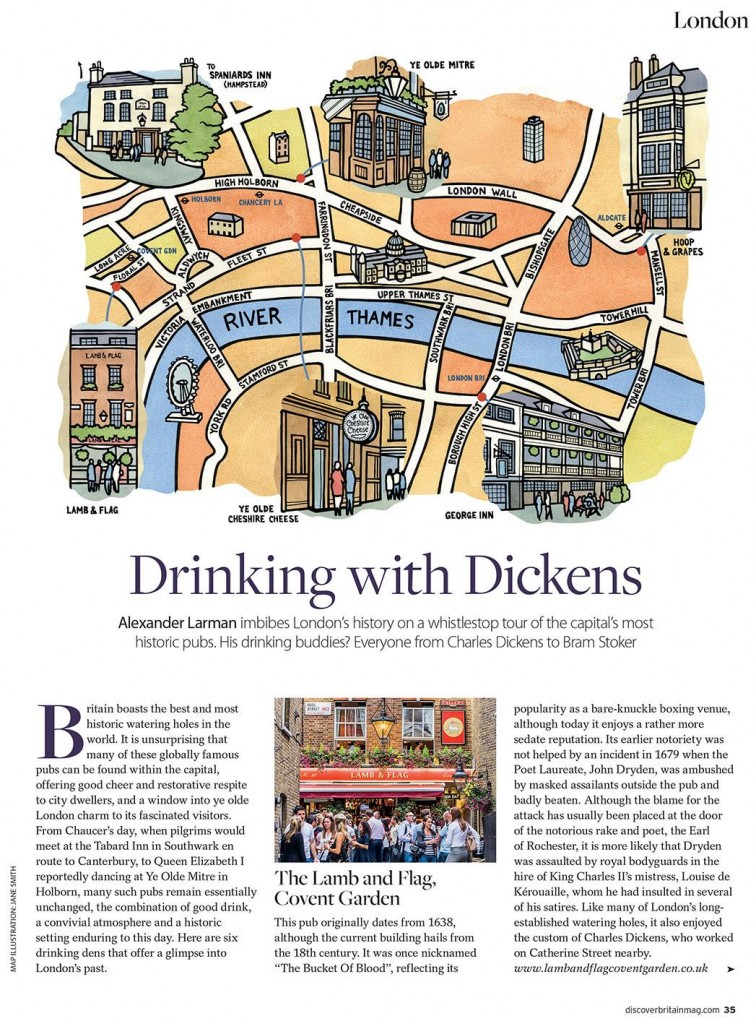 Map of old London pubs for Discover Britain Magazine