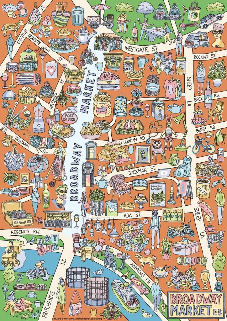 Broadway Market, London E8, A3 maps £5