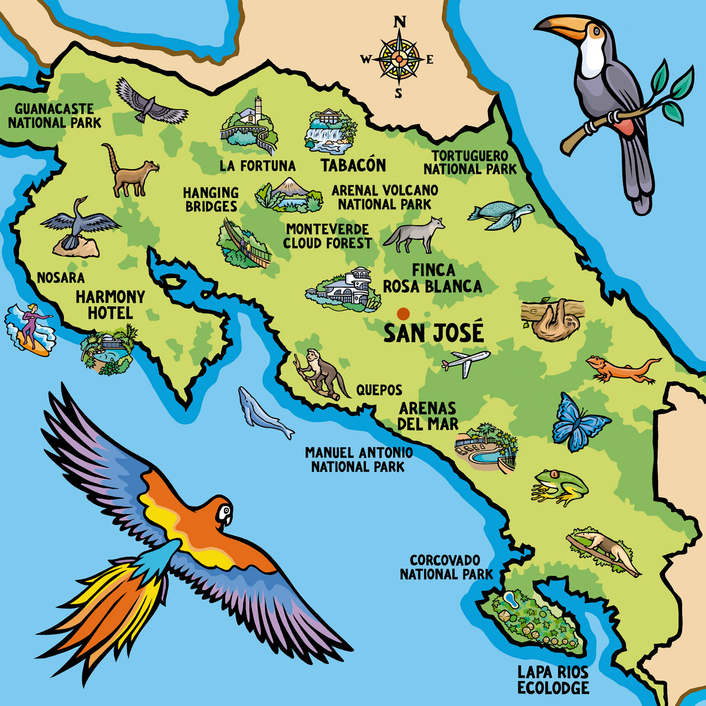 Costa Rica map aw Jane Smiths Blog