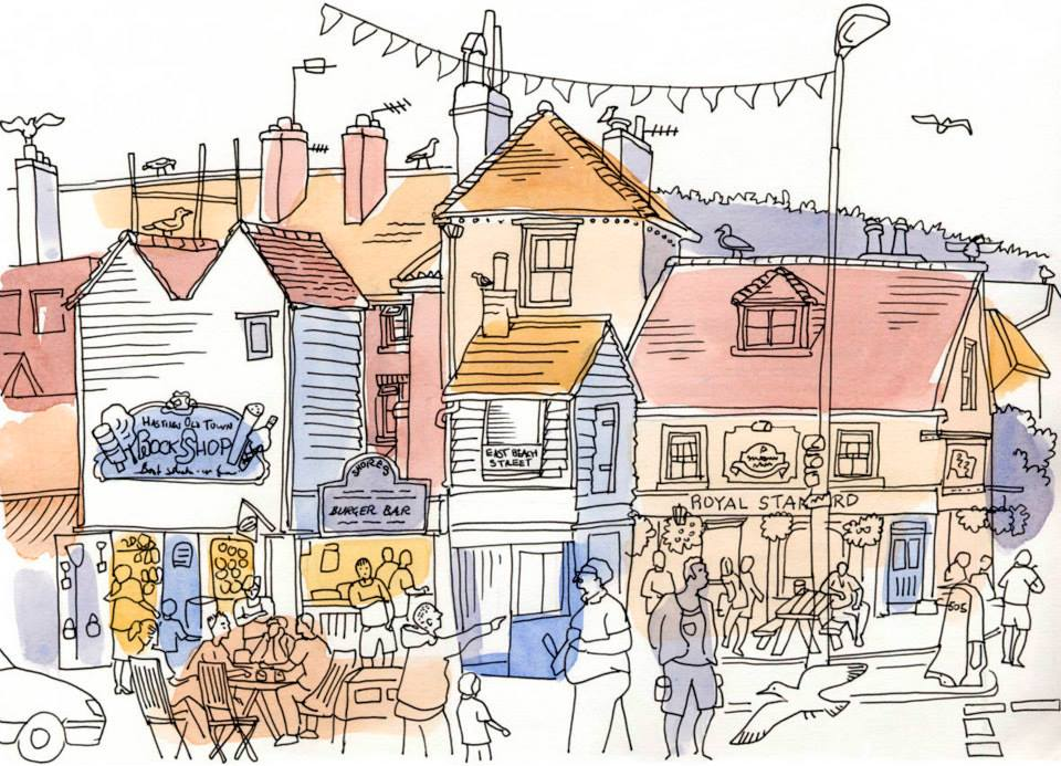 Hastings Old Town, East Sussex, UK