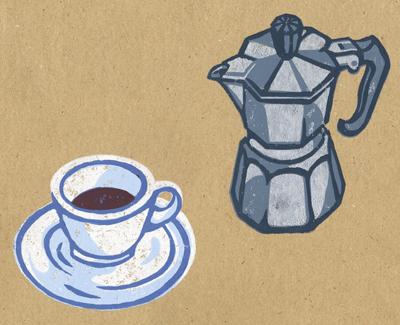 Coffee linocut - personal piece