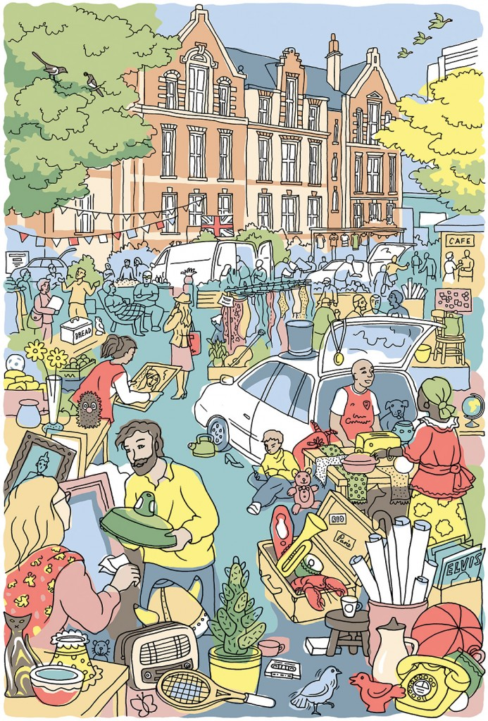 Car Boot Sale illustration for Ted Baker, Baker's Dozen.