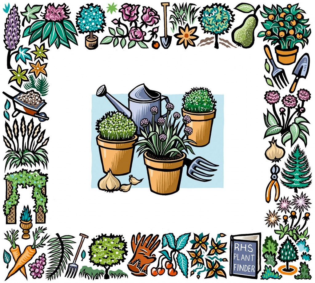 Gardening illustrations: inner - Quarto Publishing, outer - The Independent